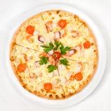Pizza con frutti di mare Fotografie Stock