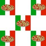 Pizza con il modello italiano del fondo della bandiera Fotografie Stock