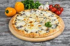 Pizza con il pollo ed i funghi con i rosmarini e le spezie fotografie stock libere da diritti