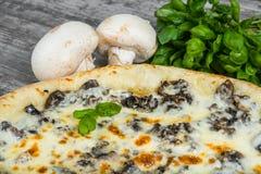 Pizza con il pollo ed i funghi con i rosmarini e le spezie immagini stock