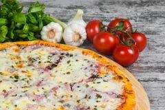 Pizza con il prosciutto sotto formaggio, con i rosmarini e le spezie su un fondo leggero fotografie stock libere da diritti