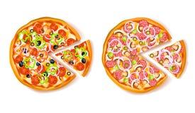 Pizza con la composizione nella fetta Fotografie Stock