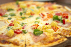 Pizza con la salchicha, los tomates, las setas y ascendente cercano del queso CCB Foto de archivo