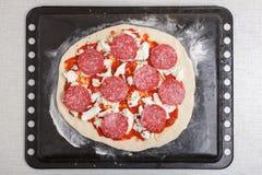 Pizza con la salsa de tomate, salchichones, queso en la bandeja de la hornada Imagenes de archivo