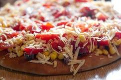 Pizza con las patatas Fotos de archivo