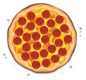 Pizza con las rebanadas de los salchichones Fotografía de archivo libre de regalías