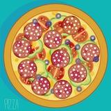 Pizza con las salchichas stock de ilustración