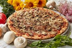 Pizza con las setas y la albahaca imagen de archivo libre de regalías