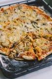 Pizza con las setas y la cebolla Foto de archivo