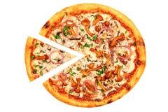Pizza con las setas y las cebollas de la primavera Fotos de archivo libres de regalías