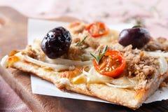 Pizza con le cipolle, lo sgombro, i pomodori e le olive immagine stock libera da diritti