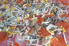 Pizza con los desmoches del cerdo Imagen de archivo