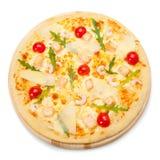 Pizza con los mariscos Visión superior Imagen de archivo