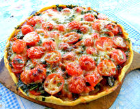 Pizza con los tomates de cereza Fotos de archivo