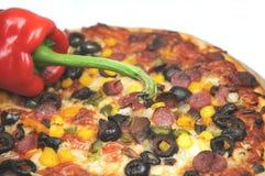 Pizza con pepe Fotografia Stock Libera da Diritti