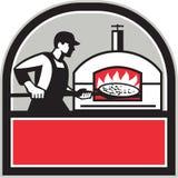 Pizza Cook Peel Wood Fired Oven Crest Retro royalty-vrije illustratie