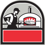 Pizza Cook Peel Wood Fired Oven Crest Retro Stock Photo