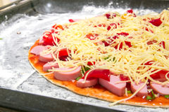 Pizza cooked at home. Pizza from natural ingredients. Made with love Royalty Free Stock Image