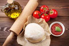 Pizza cooking ingredients Royalty Free Stock Photography