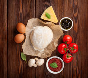 Pizza cooking ingredients Royalty Free Stock Image
