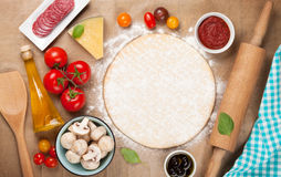 Pizza cooking ingredients Royalty Free Stock Images