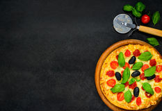 Pizza on Copy Space Royalty Free Stock Photos