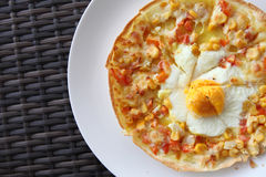 Pizza corn and egg Stock Image