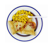 Pizza Corn Fork on Plate Stock Photography
