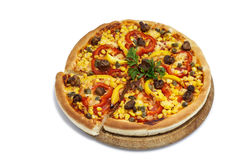 Pizza with corn and mushrooms Stock Images