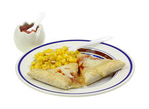Pizza Corn Plate Applesauce Dessert Stock Photography