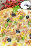 Pizza with Corn, Tuna, Onions , Olives Royalty Free Stock Image