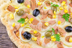 Pizza with Corn, Tuna, Onions and Olives Stock Photography