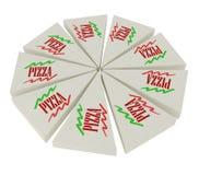 Pizza coupée en tranches d'isolement sur le blanc Image libre de droits