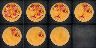 Pizza coupée en tranches mangeant en collage de 8 vues Images libres de droits