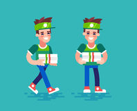Pizza courier. Vector characters in flat design. Stock Images
