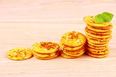 Pizza cracker with basil als business concept Stock Photo