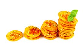 Pizza crackers with basil as business concept,  Stock Photo
