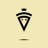 Pizza crowned vector minimalism style logo, icon, emblem, sign. Graphic design element with a slice of pizza. Pizza crowned vector logo, icon, symbol, emblem Royalty Free Stock Photo
