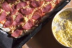 Pizza cru do salame e prato do queijo Shredded Imagem de Stock Royalty Free