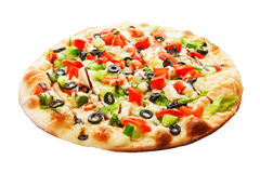 Pizza with cucumbers, olives, cheese, tomato and salad royalty free stock photo