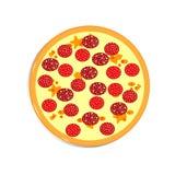 Pizza cuite avec la saucisse fumée Illustration de Vecteur