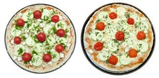 Pizza cuite et crue avec du fromage de chèvre Photographie stock libre de droits