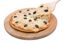 Pizza  with the cut off slice .Isolated Royalty Free Stock Photos