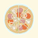 Pizza cut into slices. Vector EPS 10 hand drawn illustration Stock Images