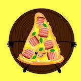 Pizza is a cute character with a face. Slice pizza on a plate. Yellow background. For your company, pizzeria, restaurant logo for. Decorating the menu and cards royalty free illustration