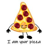 Pizza is a cute character with a face. Slice pizza on a plate. Yellow background. For your company, pizzeria, restaurant logo for. Decorating the menu and cards vector illustration
