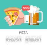 Pizza Pizza délicieuse avec la saucisse et les champignons Illust de vecteur illustration libre de droits