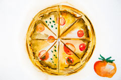 Pizza délicieuse d'aquarelle d'illustration Photos libres de droits