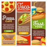 Pizza d'aliments de préparation rapide et menu mexicain de la livraison de tacos Illustration Libre de Droits