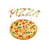 Pizza d'aquarelle d'isolement Illustration de vecteur de peinture de main L'aquarelle peut être employée pour l'autocollant, l'av Photos stock